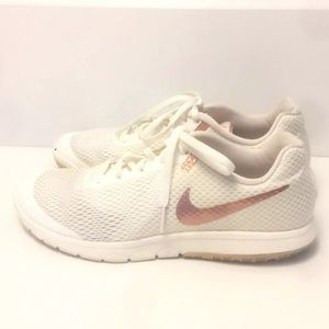 Nike Flex RN 6 Off White Rose Gold Knit Shoes Sz 8